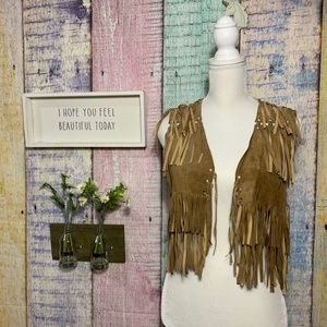 Vintage Ralph Lauren Fringe Leather Boho Vest